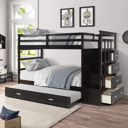 Solid Wood Bunk Bed for Kids, Hardwood Twin Over Twin Bunk Bed with Trundle and Staircase 18