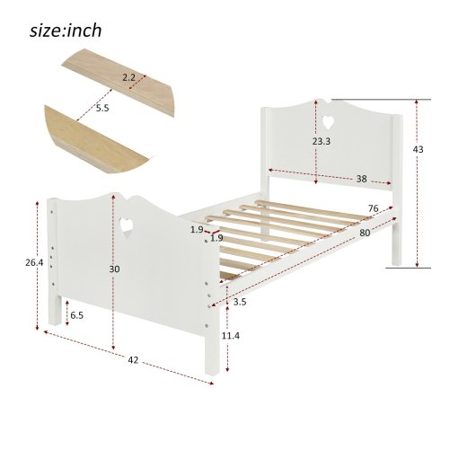 Bed Frame Twin Platform Bed with Wood Slat Support and Headboard and Footboard 12
