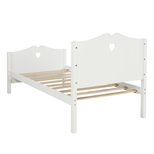 Bed Frame Twin Platform Bed with Wood Slat Support and Headboard and Footboard 4