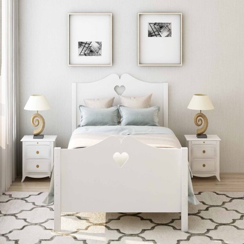 Bed Frame Twin Platform Bed with Wood Slat Support and Headboard and Footboard 28