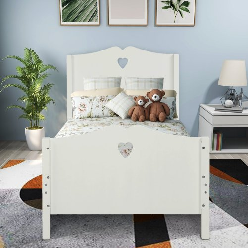 Bed Frame Twin Platform Bed with Wood Slat Support and Headboard and Footboard 3