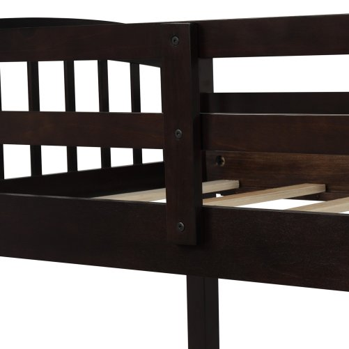 Twin Bunk Bed with Ladder, Safety Rail, Twin Trundle Bed with 3 Drawers for Kids 9