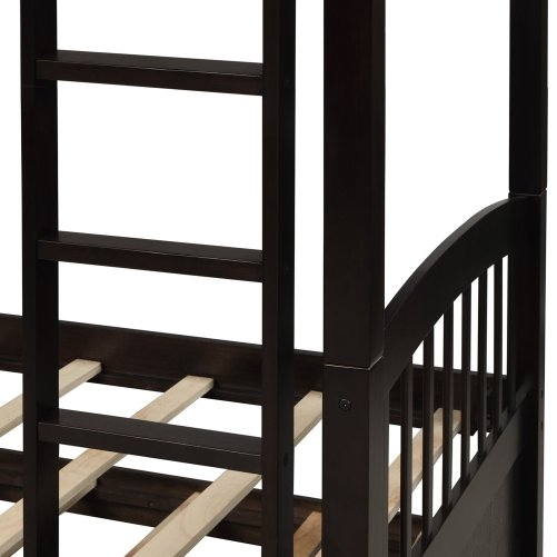 Twin Bunk Bed with Ladder, Safety Rail, Twin Trundle Bed with 3 Drawers for Kids 10