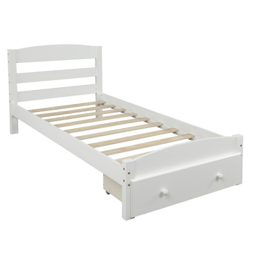 Platform Twin Bed Frame with Storage Drawer and Wood Slat Support 7