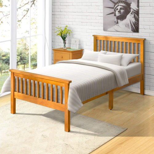 Wood Platform Bed with Headboard and Footboard 6