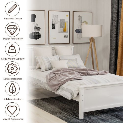 Wood Platform Bed with Headboard,Footboard and Wood Slat Support 1