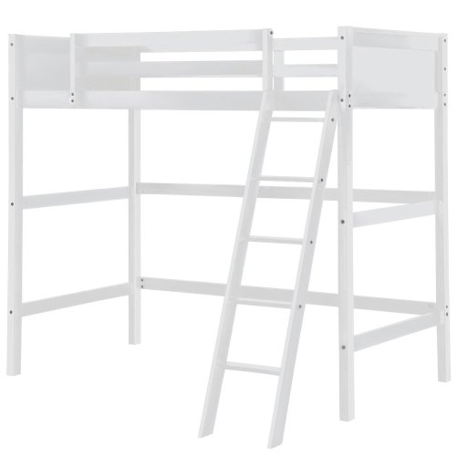 Solid Wood Loft Bed Panel Style Loft Bed,Side Angled Ladder 3