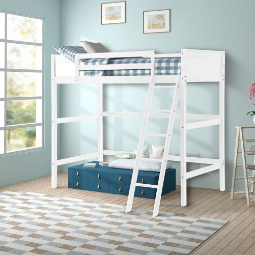 Solid Wood Loft Bed Panel Style Loft Bed,Side Angled Ladder 1