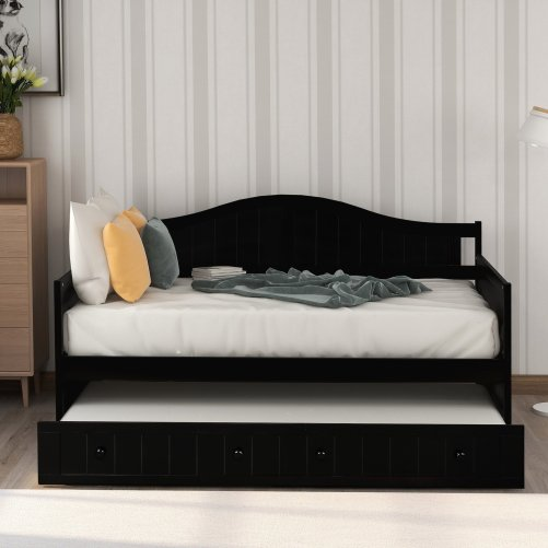 Twin Wooden Daybed with Trundle Bed 12