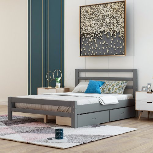 Wood Platform Bed With Two Drawers, Full Size 4