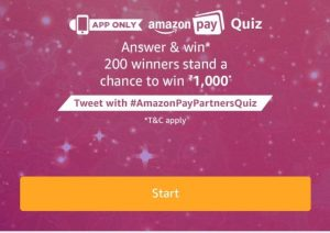 (21st December)Amazon Pay Quiz – Answer & win Rs.1000