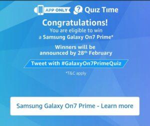 Amazon Samsung Galaxy On7 Prime Quiz - Answer & win Samsung Galaxy On7 Prime Quiz