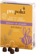 Adoucissent la gorge et purifient l'haleine (2,5 % d'extrait pur de propolis). 45 g. Gommes miel réglisse. Agréables à sucer, les Gommes de propolis adoucissent la gorge et parfument durablement l'haleine grâce à la Réglisse. Idéales dans la poche ou le sac, elles vous accompagnent partout. Sucer 5 à 6 gommes par jour.