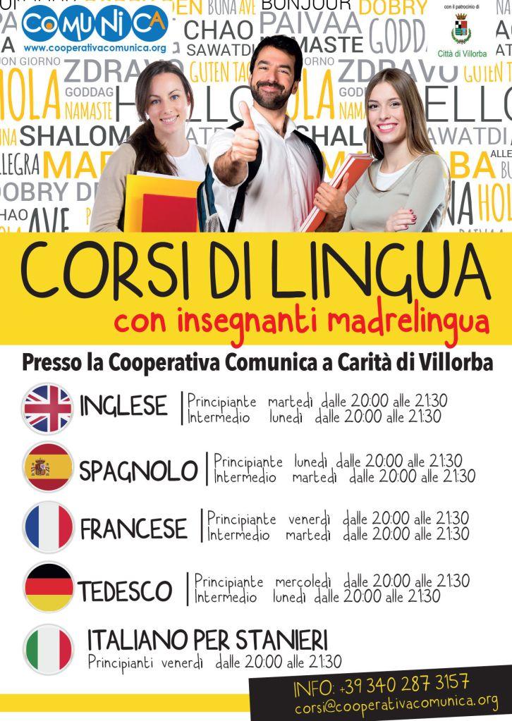 Corsi di lingue - Cooperativa Comunica - Feb 2020 - fronte