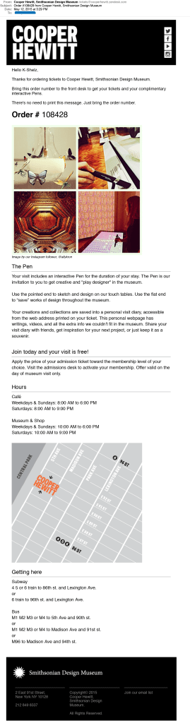 screen shot of an email with lots of information about cafe, hours, map, the pen, and an image of museum interior and pen usage.