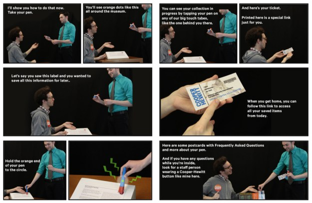 a comic-book style grid of photos showing a transaction between two gentlemen step-by-step