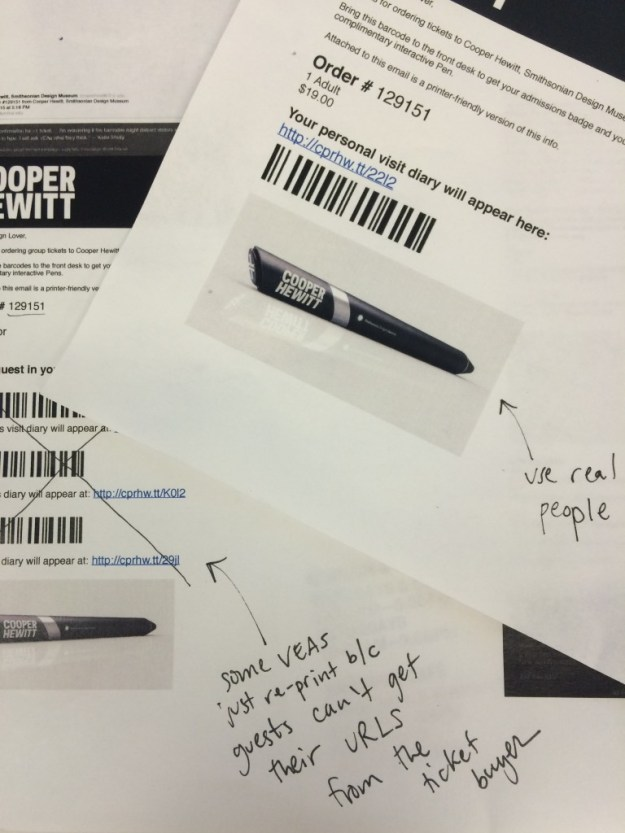 "printouts of an email confirming tickets with barcodes and giant pen scribbled ""x"" with handwritten pen notes"