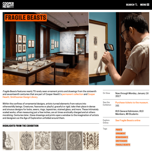 Screenshot of the Fragile Beasts exhibition channel page on cooperhewitt.org