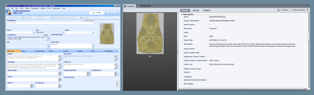 On the left, image of object record in The Museum System database. On right, object in the DAMS interface with mapped metadata from the TMS record.