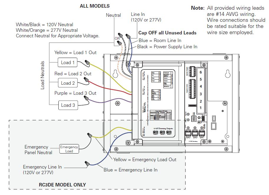 How do I wire line voltage to a Room Controller?