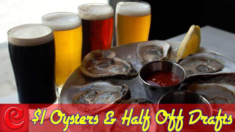 Happy Hour – ½ off drafts & $1 Oysters