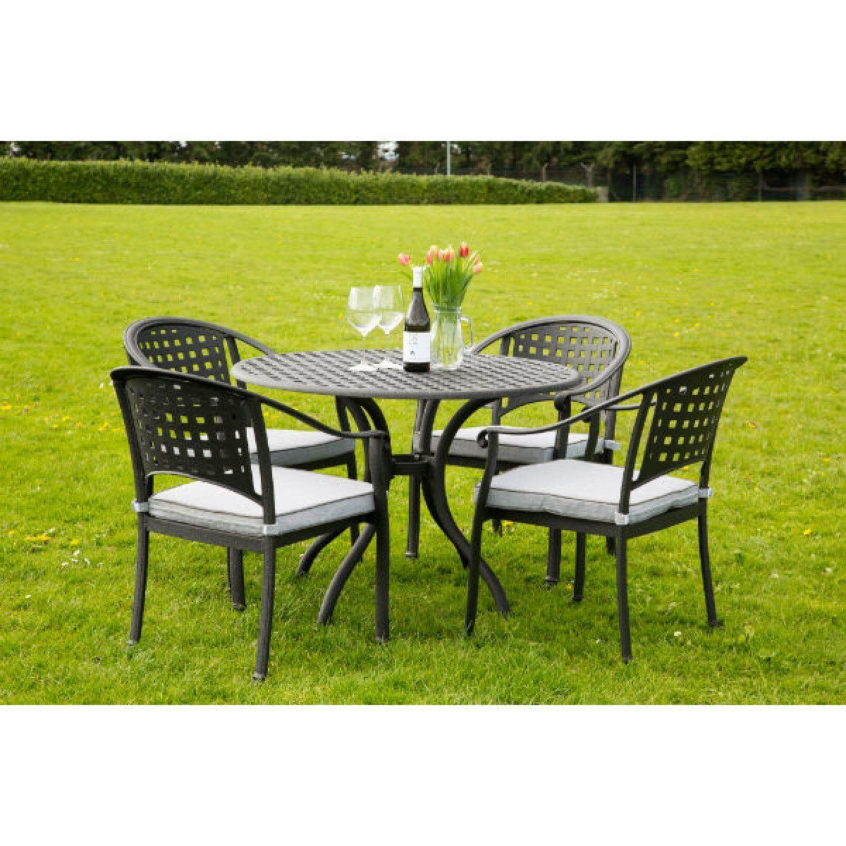 4 seater outdoor table and chairs wing chair recliner slipcover pattern chelmsford cast aluminium garden furniture set