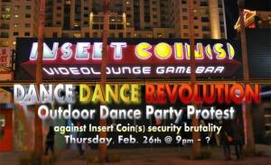 Dance, Dance Revolution Protest at Insert Coins Las Vegas- Feb. 26, 2015 (Update)