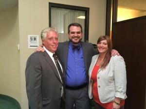 Stephen Stubbs with his attorneys, John Spilotro and Lisa Szyc.