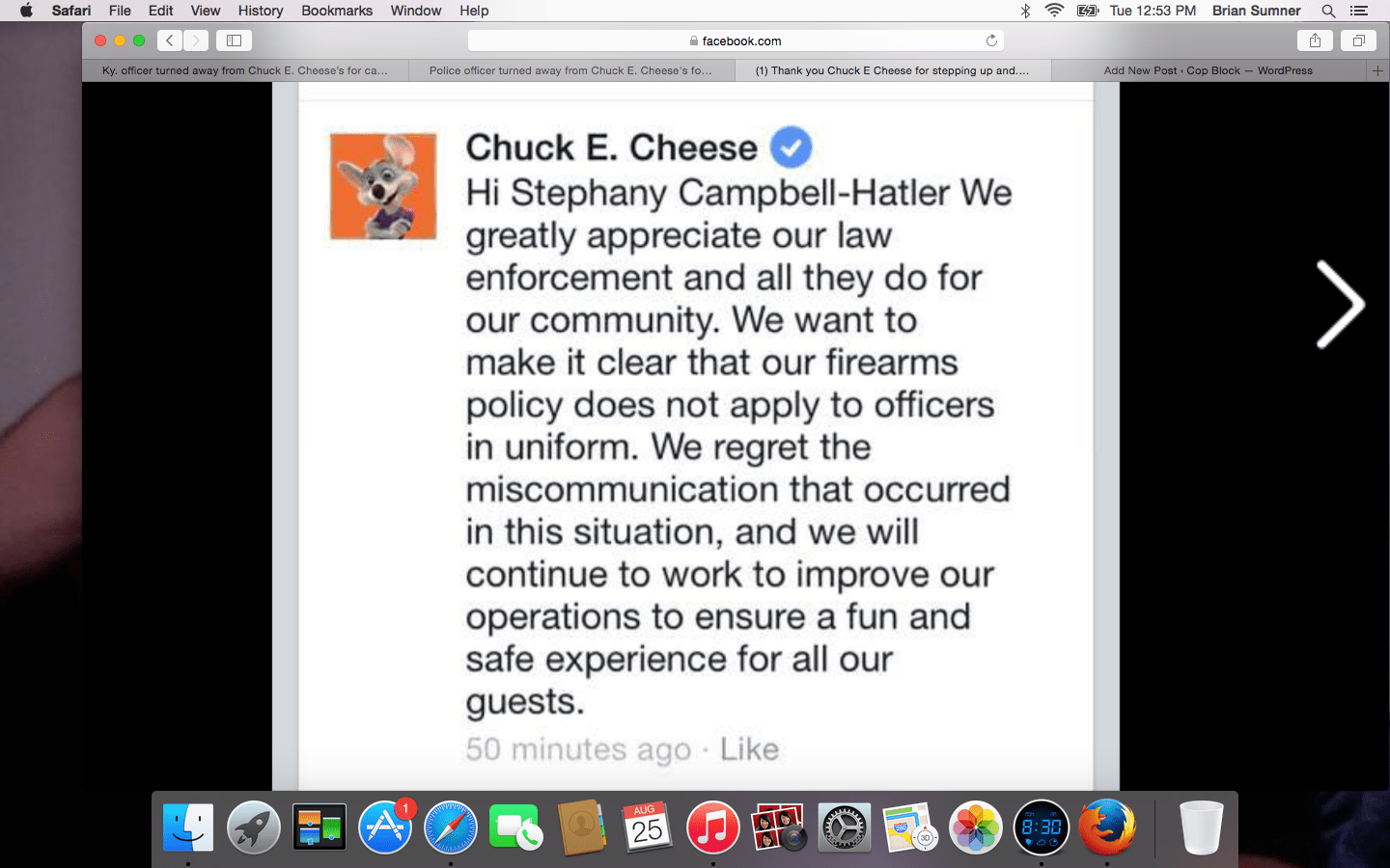 armed off duty cop wasn t served at chuck e cheese cop block screen shot 2015 08 25 at 12 53 43 pm