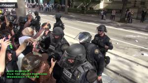 Portland Police Beat Protesters, Arrest Cop Blockers