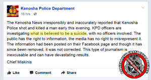 Kenosha Police Slam Premature Media Reporting While Making Premature Report