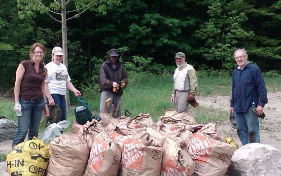 garlic mustard picking team