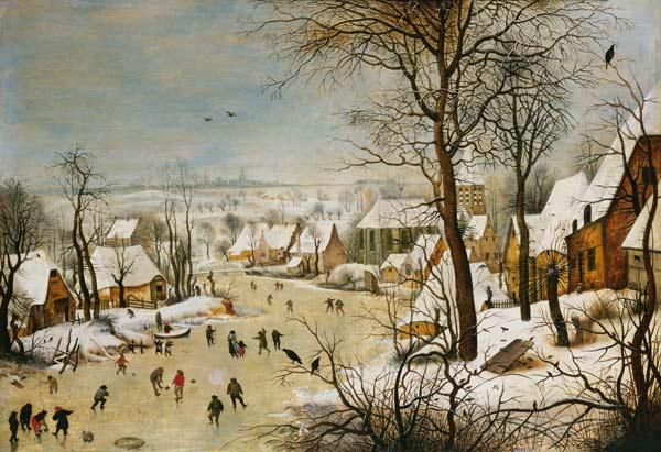 Paesaggio invernale quadro di Pieter Brueghel Il Giovane riproduzione stampata o copia dipinta