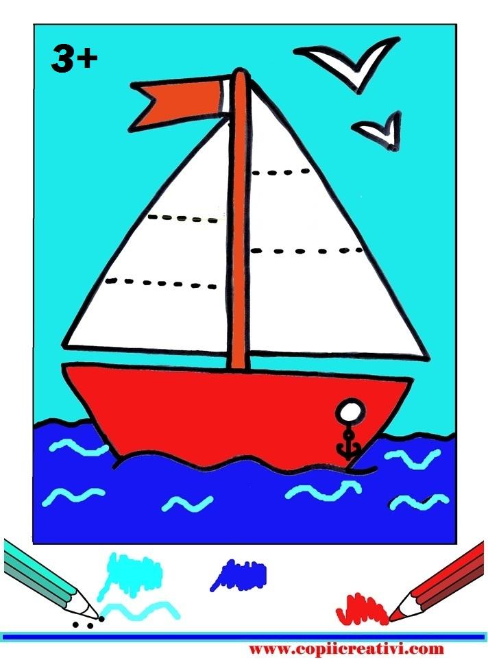 Desen Pentru Colorat Cu O Barcuta Copii Creativi