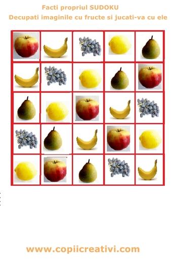 tabel cu fructe lipite diferite sudoku 4 350
