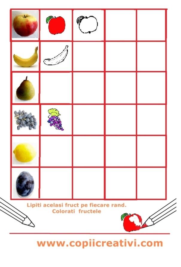 tabel cu fructe lipite