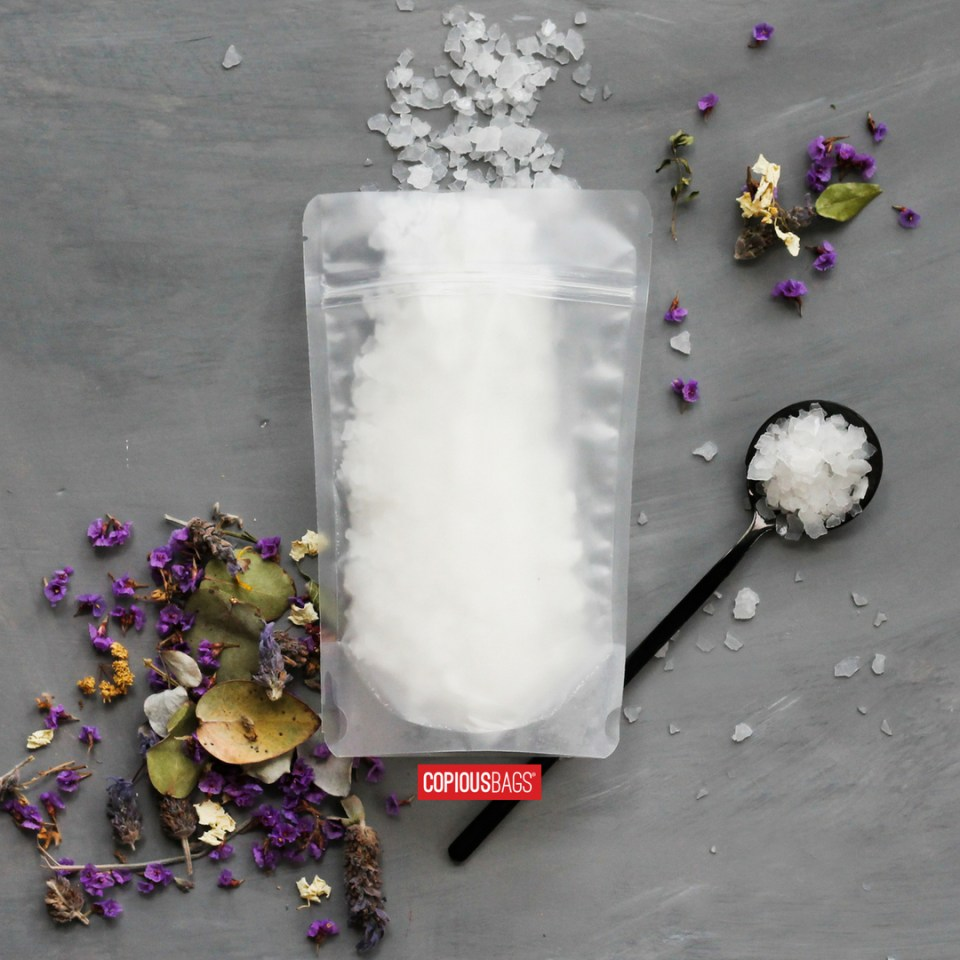 8 oz matte frosted stand up pouches – bath salt packaging