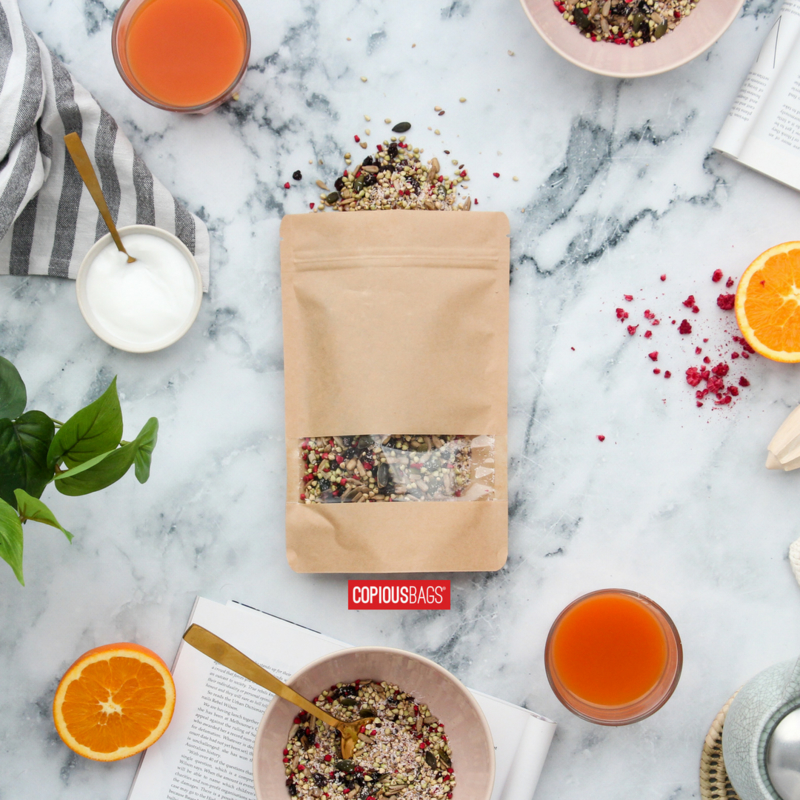 kraft stand up pouch with window packaging