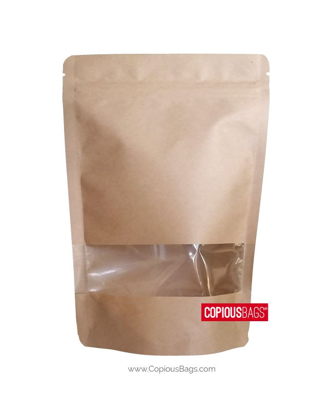 95369ac637 2 oz Kraft Stand Up Pouches with Window 4×6.5   60g - Zipper Pouch Bag