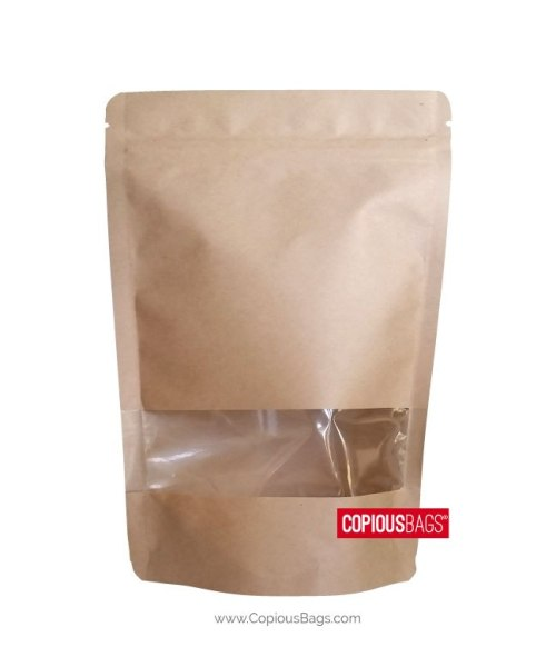 8 oz Kraft Stand Up Pouch with Window 6×9 : 250g