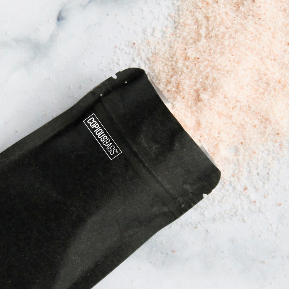 1 oz black kraft stand up bag – salt packaging – Copious Bags