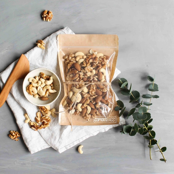 brown kraft nuts packaging zipper bag