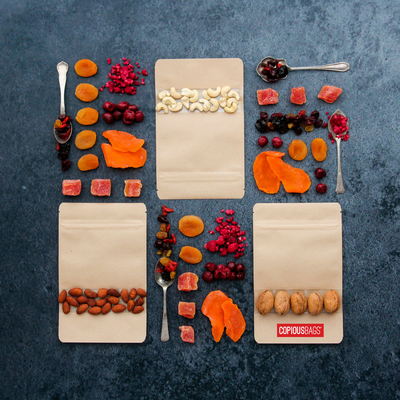 dried fruit packaging kraft resealable stand up bags