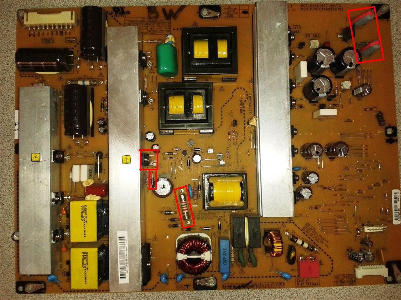 hight resolution of lg 50pj350 power supply repair kit for tv not turning on clicking on and off