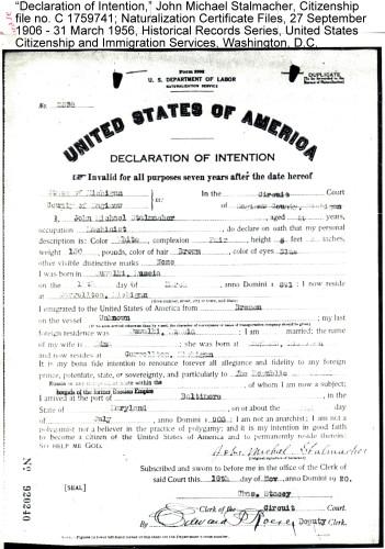 Stalmacher Declaration of Intention