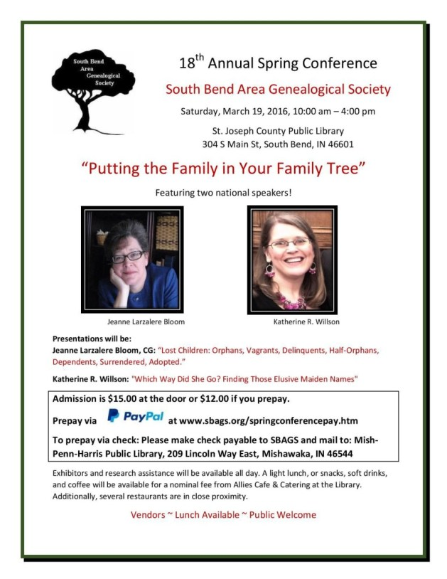 If you're near South Bend, Indiana, check out our spring conference on the 19th!