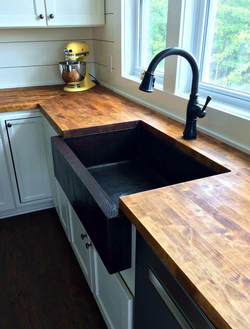 33 single well copper farmhouse sink by soluna