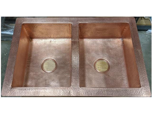 33 hammered copper 50 50 kitchen sink in matte copper sale