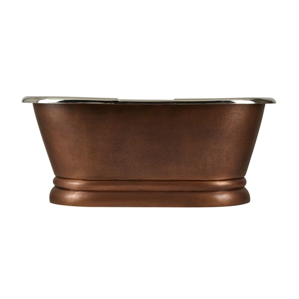 Copper Pedestal Tub Nickel Interiors - Coppersmith Creations