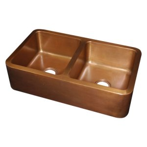 Rectangular Double Bowl Copper Kitchen Sink - Coppersmith Creations